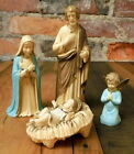 Vintage Nativity 4 pc Set Jesus Mary Joseph Angel Art Plastic Hong Kong 60s Era