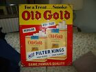 Vintage OLD GOLD Tobacco Cigarette Advertising Tin Sign33 X 28 Embossed