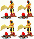 4 Original Timpo Yellow Apaches Sending Smoke Signals - 54mm unpted toy soldier