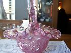 Fenton Glass Iridescent Bright Pink Basket, Rose or Candy Bowl, Vase