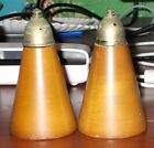 Vintage pair of Danish Wood Cone shaped Salt and Pepper Shakers