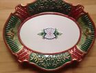 Fitz & Floyd Christmas Court Holiday Large Red Green GoLd Serving Platter Tray