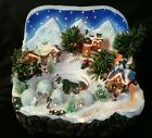 Kirklands Holiday Lites Fiber Optic Lighted Christmas Village Snow Scene w Box