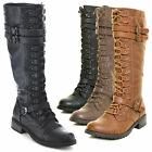 Womens Knee High Lace Up Buckle Fashion Military Combat Boots PU Leather Riding