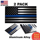 2 Pack ALUMINUM Police Officer Thin Blue Line American Flag decal stickers USA