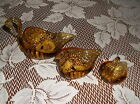 Colony, Vintage Amber Art Glass, Nesting Swans, Set Of 3, Made In Italy, Nice!!