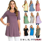 Womens Basic Solid Round Neck Short Sleeve Tunic Top Shirt Dress S M L XL USA