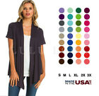 Womens Solid Short Sleeve Cardigan Open Front Wrap Vest Top Plus USA S 3X
