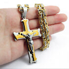 20 36Stainless Steel Cross Pendant Gold Silver Necklace Byzantine Box Necklace