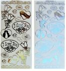 EMBOSSED I LOVE YOU Peel Off Stickers Lips Rose Hearts Gold or Silver Valentines