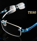 Ultralight TR90 Flexible Eyeglasses Rimless Frames Glasses Blue Eyewear Fashion