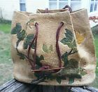 1890's Victorian Hand Tooled Leather Handbag w/Bone Handle Accents