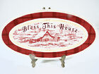 BLESS THIS HOUSE oval plate Winter Cabin Town & Country FITZ & FLOYD