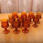 11 Amber Indiana Glass Co Kings Crown Thumbprint Wine Goblet Water