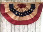 Embroidered Tea Stained American Flag Bunting 4 ft Wide Fan USA United States