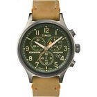 Timex Men's Expedition Scout Chronograph   Green Dial Leather Strap   TW4B04400