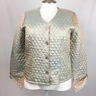 April Cornell Womens Quilted Beige Iridescent Satin Button Down Jacket Size M