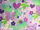 Print Polar Fleece Fabric Lilac with butterfly by yard FREE SHIPPING