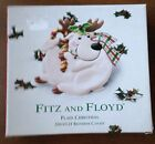 NIB FITZ AND FLOYD Plaid Christmas Reindeer Canape Plate