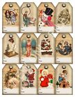 12 Christmas Vintage Art Hang Tags To From Scrapbooking Paper Crafts 142