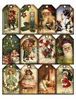 12 Christmas Vintage Art Hang Tags Scrapbooking Paper Crafts 17