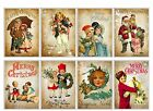 8 Christmas Vintage Victorian Hang Tags Scrapbooking Journaling Cards 110