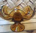 Vintage AMBER Glass Footed Bowl Scalloped Candy Dish Decorative Glass Retro