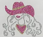 Cowgirl in Hat Iron On Rhinestone Hot Fix Bling Transfer Motif