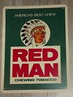 VINTAGE ORIGINAL RED MAN CHEWING TOBACCO PLASTIC SIGN CHEW ADVERTISING 12X16
