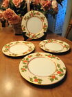 Fitz & Floyd CHRISTMAS HOLLY  Salad Plates  Set of Four