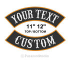 Custom Embroidered 11 12 Top Bottom Rocker Sew on Patch MC Biker Badge B
