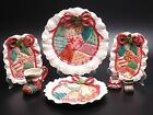 7-FITZ AND FLOYD CHRISTMAS QUILT PLATES, CREAMER, SALT AND PEPPER SHAKERS