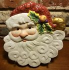 Fitz & Floyd CHRISTMAS SANTA Sculpted 3D Canape Plate, Cookie plate
