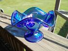 Fenton Glass Iridescent Cobalt Blue Dolphin Handed Compote