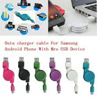 Fashion Micro USB Data Sync Charger Retractable Cable For Samsung Android Phone