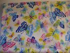 Flannel Cotton Fabric Destash Butterfly Pink Blue Yellow  2 Yards