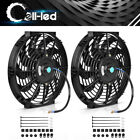 2x12inch Slim Push Pull Electric Radiator Cooling Fan 12V Mount Kits Universal