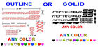 85 86 MONTE CARLO SS STICKERS ANY COLOR CHEVY CHEVROLET BOWTIE
