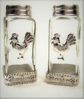 Country Rooster Glass Salt Pepper Shaker Table Set Silver Metal 4 1 4H