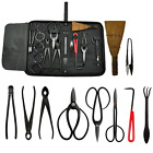 Bonsai Tool Kit Gardening 10 pc Set Carbon Steel Scissor Cutter Shear Wire Case