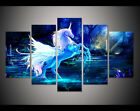 Modern Abstract Oil Painting Wall Decor Art Huge unicorn horse forest blue