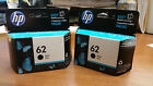 2 HP NEW Genuine Sealed OEM HP 62 BLACK ink cartridge EXP 2018 FAST shipping