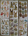 6 VIOLETTE STICKERS PANELS VICTORIAN THEMED EASTER RABBITSEGGS FLOWERS MORE