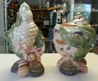 FITZ & FLOYD OCEANA SALT & PEPPER SET MULTICOLOR SEASHELLS & CORAL RETIRED