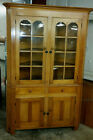 OVERSIZE ANTIQUE SOUTHERN PINE CORNER CABINET CUPBOARD OLD FLOATED PANED GLASS