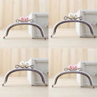 White Pink Candy Bead Metal Frame Kiss Clasp For Handle Bag Purse 125CM 492