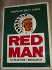 VINTAGE ORIGINAL RED MAN CHEW CHEWING TOBACCO EMBOSSED METAL SIGN 12X16 MAN CAVE