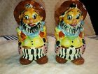 CALIFORNIA CREATIONS BY BRADLEY COWBOY RODEO CLOWN SALT AND PEPPER SHAKERS JAPAN