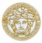 25 White VINTAGE MEDUSA LOGO Embroidered Iron On Sew On Patch