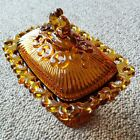 Vintage Honey Amber Glass Candy Dish 2 Piece Indiana Glass Open Lace Edge Retro